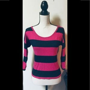 Hollister Pink & Navy Large Striped Shirt,sz.Small
